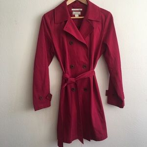 Tommy Bahama belted red trench coat,flower buttons